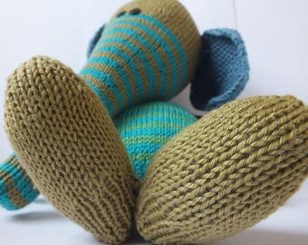 Hand knitted toy, elephant, soft toy