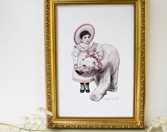 White winter polar bear and girl illustration artwork print. Christmas art. Winter art. Gift for animal lovers. Vintage artwork
