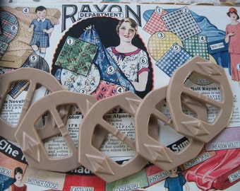 Lot/5 Vintage 1930s Tan Art deco Buckles...new old stock