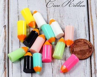 14~28pcs 20mm Mixed Fake Colorful Pencils Pencil Back to school Flatback Resin Cabochons A11