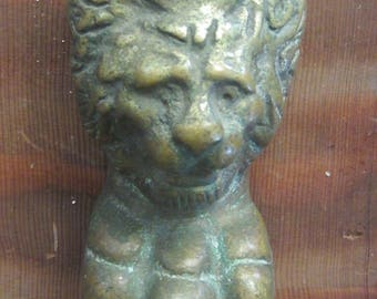 Antique Cast Brass Lion Leg w Burnt Butterscotch Patina
