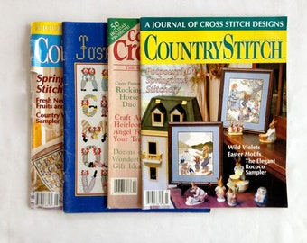 Vintage – Country Stitch, Women's Circle Counted Cross Stitch and Just Cross Stitch Magazines – Set of 4