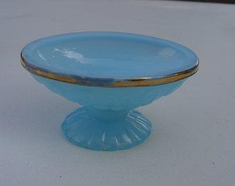 Vintage Avon Bristol Glass Blue Opalescent Pedestal Soap or Vanity Dish