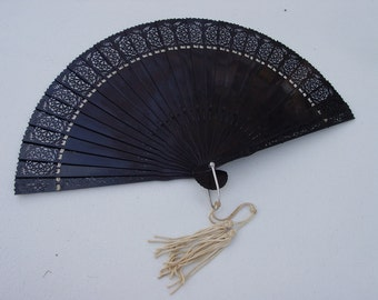 Vintage  Expanding Early Plastic Fan with Tassel