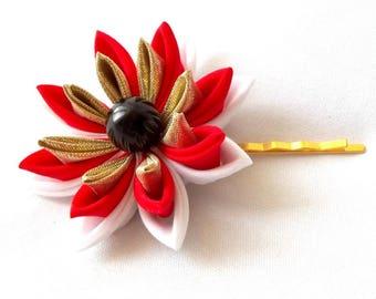Red and Gold Lotus Bobby Pin Tsumami Kanzashi Hair Flower