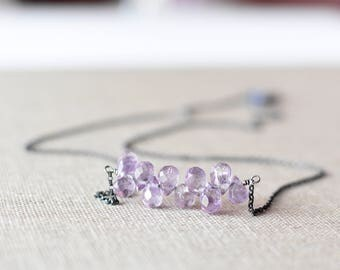 Amethyst Necklace Oxidized Sterling Silver