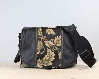 Medium- Black Olive Scrolls Leather Camera Satchel Bag DSLR- IN-STOCK