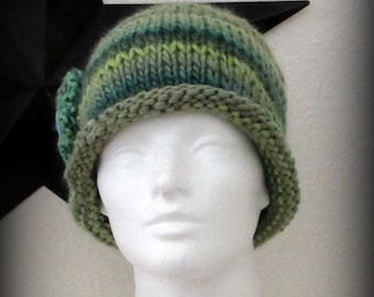 knit hat - knit cap - hand knit hat - green blends knit hat - knit beanie - Merino wool knit hat - Merino wool hat - Green hand knit hat