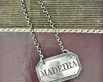 Antique 1804 English Sterling Silver Decanter Tag - Madeira
