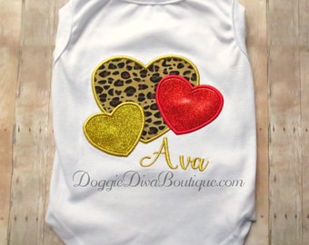 Dog T Shirt, Heart Applique Embroidered Dog Shirt, XS, Small, Medium, with or without bows or ruffles