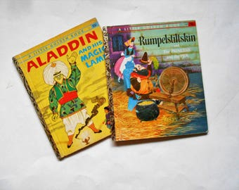 Aladdin and His Magic Lamp and Rumpelstiltskin and The Princess and the Pea, Two Vintage Children's Little Golden Books