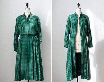 Vintage Flannel Dress S/M • Green Plaid Dress • Fit and Flare Dress • 80s Dress • Shirt Dress • Cotton Dress • Plaid Dress Christmas | D902
