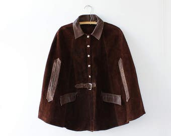 Suede Cape S/M • Cape Coat • 70s Jacket • Vintage Cape • Brown Suede Jacket • 70s Jacket • Vintage Poncho | O415