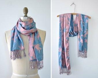 Bamboo Silk Scarf • Vintage Silk Scarf • Long Silk Scarf • Blue Silk Scarf • Pink Silk Scarf • Fringe Scarf • Spring Scarf | SC326