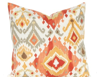 Outdoor Cushion Cover - Deep Coral, Rust and Gold - Ikat Pillow Cover - Patio Seating - Garden Decoration - Indoor Outdoor Pillow