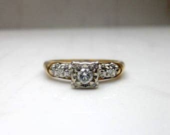 Vintage 14k Solid Yellow Gold Diamond Engagement Ring Illusion Setting, Size 7.5