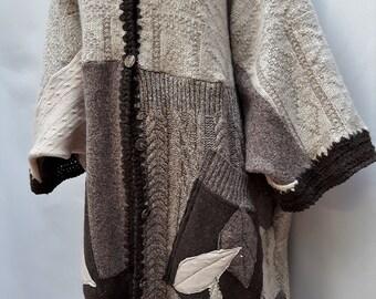 Cortona...is a knit patchwork coat /cardigan in monochromatic earthy tones