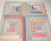 1930s Log Cabin Vintage Quilt Piece - 23 by 23 Inches