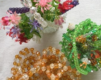 Vintage beaded baskets  safety pin beaded flower basket   Kitschy beaded baskets  beaded flowers