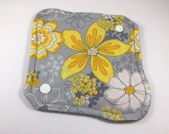 "Cloth Panty Liner 8"" Gray Yellow Floral"