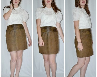 SALE Thru July Vintage Brown Distressed Leather Mini Skirt Sz M