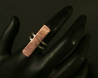 Size 4 - Mixed Metal Sterling Silver and Copper Aspen Bark Ring - part of the Aspen Collection