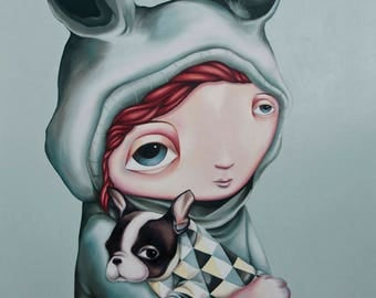 Two of a Kind - A4 Limited Edition signed Pop Surrealism Fine Art Print - by Rachel Favelle