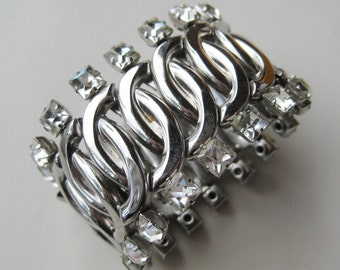 Vintage 40s Hollywood Leading Lady Silver Rhinestone Expansion Stretch Bracelet