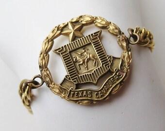 Vintage 70s Texas Cavaliers Gold Metal Souvenir Charm Bracelet