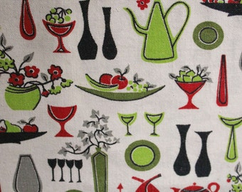 1950s Place Mats Set of 4 - Kitsch 50s Mid Century Red & Black Tableware Placemats - Fruit Bowls Cups Vases Kitchen Novelty Print - 47770