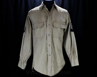 Men's Medium 40s Shirt - US Army Military WWII 1940s Mens Long Sleeved Top - Khaki Tan Cotton & Patches - World War II - Chest 38 - 48476