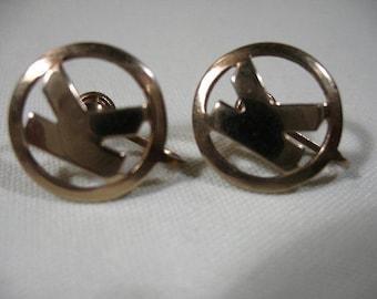 """Vintage Gold Tone Monogram """"K"""" Screwback Earrings"""