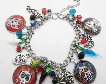 Silver  Day of Dead charm Bracelet, Dia de Los Muertos Jewelry, Sugar skull, 316L stainless steel