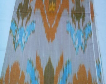 Uzbek traditional handwoven cotton ikat fabric by meter. Tulips flower pattern ikat. F038