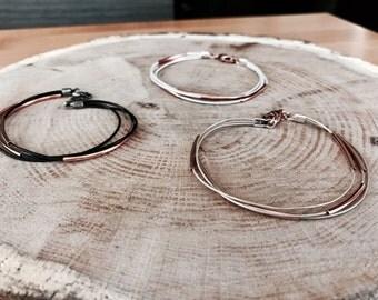 Multiple strand leather rose gold bracelet