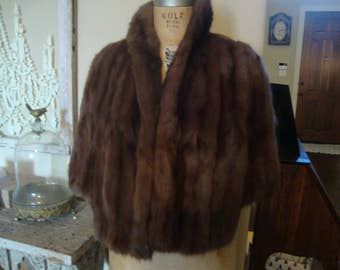 Vintage Dark Brown Fur Mink Stole Cape Shrug AMAZING