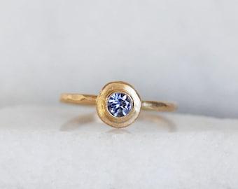 Tanzanite Ring - 14k Gold Tanzanite Stacking Ring - Gold Disc Stacking Ring