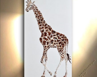 Giraffe Painting on Canvas Vertical Decor Art Oil Original Artworks Abstract African animal Design by OTO