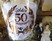 Vintage 50th Anniversary Apothecary Jar / 50th Anniversary Gift / Vintage Wedding Anniversary Gift / Golden Anniversary Gift / 1950s.
