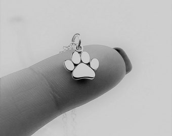 Paw Print Necklace - Tiny Sterling Silver Paw Print Necklace -  Cat, Dog Lover Necklace, Pet Memorial Necklace, Personalized Pet Jewelry