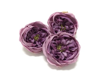 3 Cabbage Roses in Shades of Lavender - Artificial Flowers, Silk Flowers, Flower Crown, Hair Accessories, Wedding Flowers, Embellishment