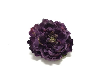 Large Artificial Deep Purple Peony - 5 Inches, Artificial Flower, Silk Flowers, Hair Accessories, Flower Crown, Wedding, Bouquet, Hat