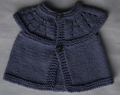 CUSTOM ORDER for Holly.  Two cardigans in blue Calico yarn, size 3-6m and 18-24m