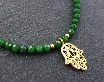 Hamsa Hand of Fatima Layer Necklace Emerald Green Jade Stone Gemstone Hippie Bohemian Artisan