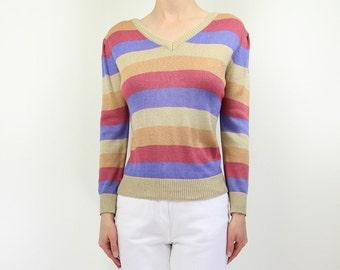 VINTAGE 1980s Stripe Sweater Knit Top