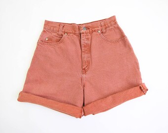 VINTAGE Pink Denim Shorts 1980s High Waist Jean