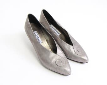 VINTAGE Silver Pumps 1990s Leather Heels Size 7.5