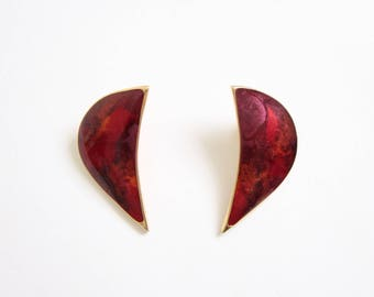 VINTAGE Red Earrings 1980s Metal Enamel Pierced