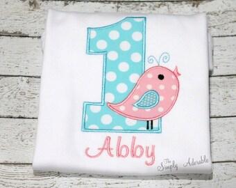 "Girl's ""Sweet Tweets"" Bird  Birthday Shirt, Bird Birthday Shirt, Birdie Birthday Shirt, Customize with your choice of fabrics"