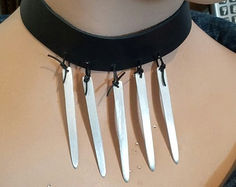 Black leather choker with spikes, aluminum, edgy jewelry, leather necklace, minimalist, modern, spike necklace
